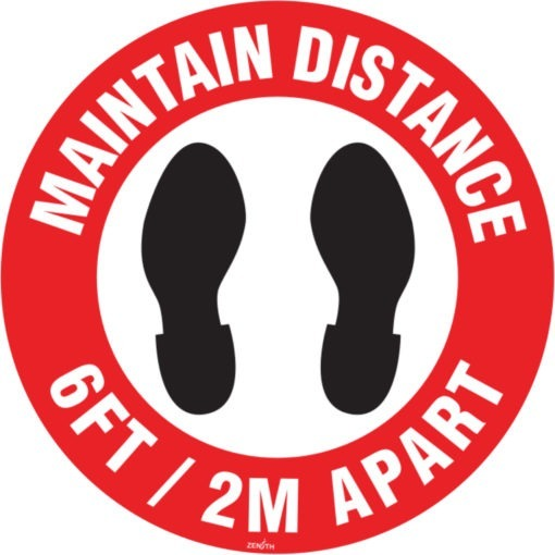 social distance floor sign in English