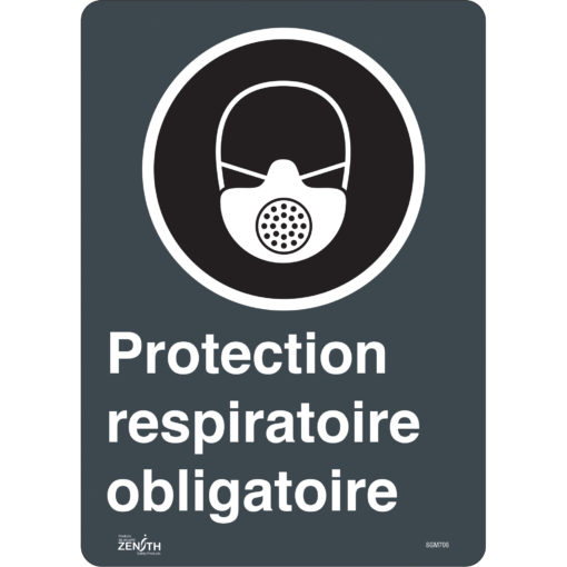 Raspiratory protection required sign in french