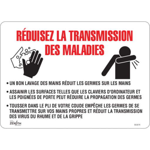 PPE and reduce disease transimission signs in french