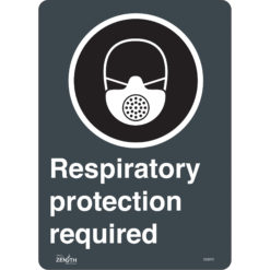 Raspiratory protection required sign in English