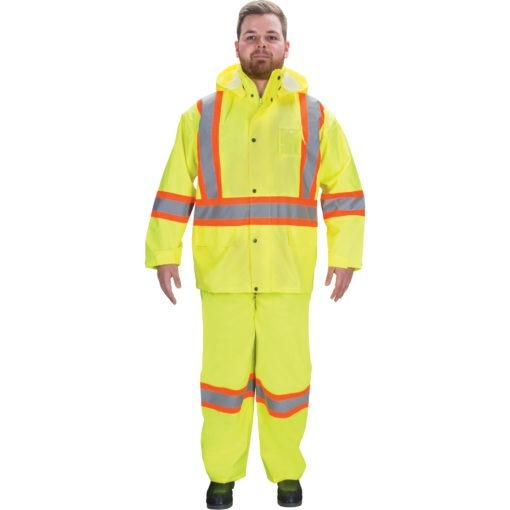PPE and yellow rain suit