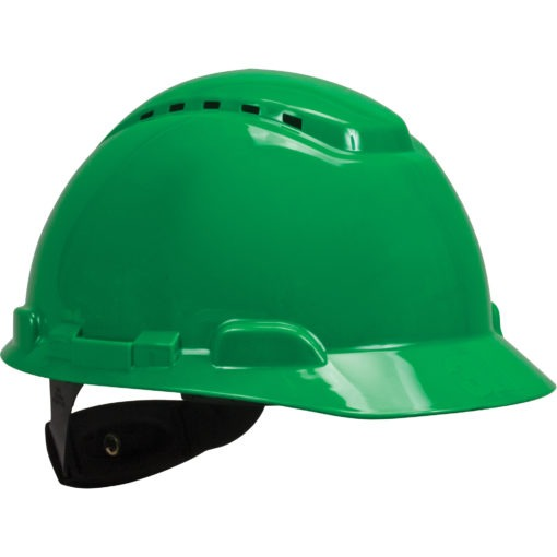Vented green Hardhat with Uvicator Sensor Ratchet Suspension