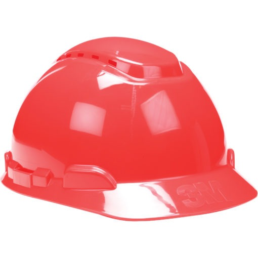 Vented red Hardhat with Uvicator Sensor Ratchet Suspension