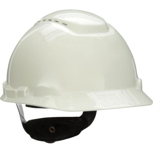 Vented white Hardhat with Uvicator Sensor Ratchet Suspension