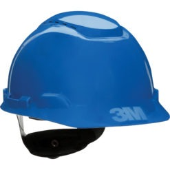 Vented blue Hardhat with Uvicator Sensor Ratchet Suspension