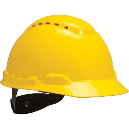 Vented yellow Hardhat with Uvicator Sensor Ratchet Suspension